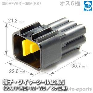 画像1: 090型RFW防水/オス6極カプラ(黒)